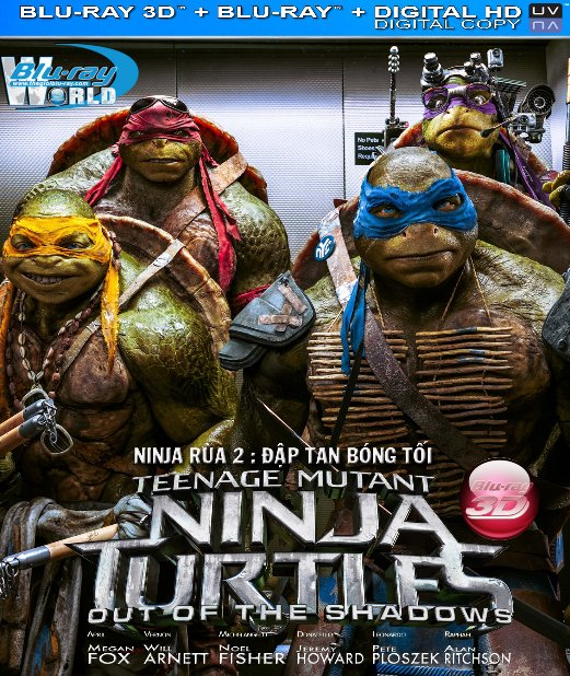 D298.Teenage Mutant Ninja Turtles Out of the Shadows 2016 - NINJA RÙA ĐẬP TAN BÓNG TỐI) 3D25G (TRUE - HD 7.1 DOLBY ATMOS)